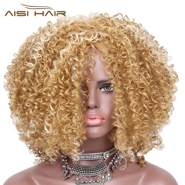 Promo I s a wig Synthetic Afro Kinky Curly Wigs for Black Women Blonde and Golden Hair. Click visit to read descriptions