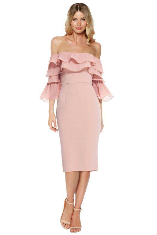 6a4bb1d4873 Talulah - Walk On By Off Shoulder Midi Dress - Pink - Front | SPRING ...