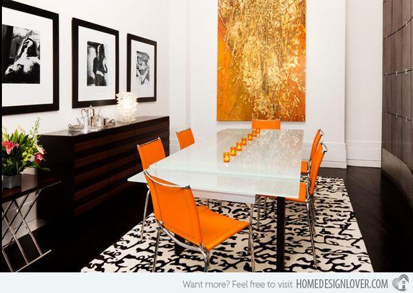 15 catchy orange dining room designs