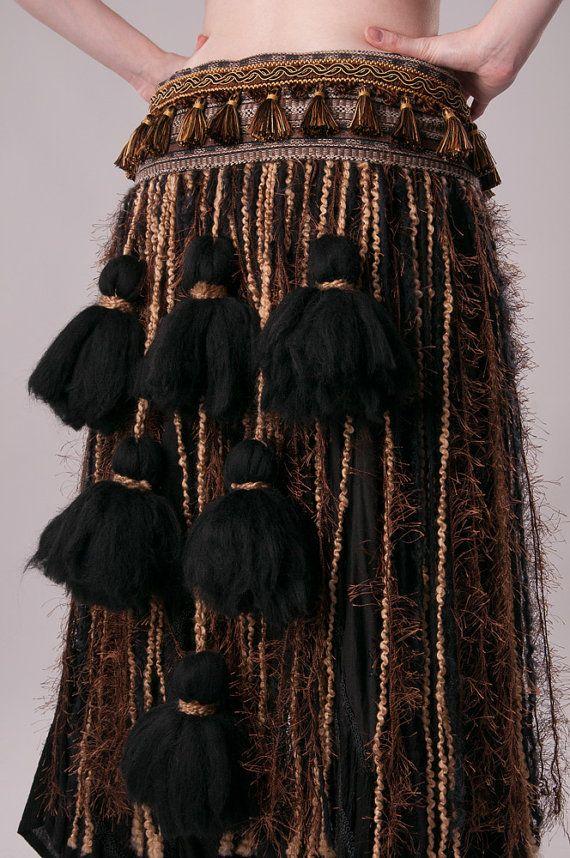 Nero danza del ventre Tribal Brown Tan toni terra di ScarletFairy