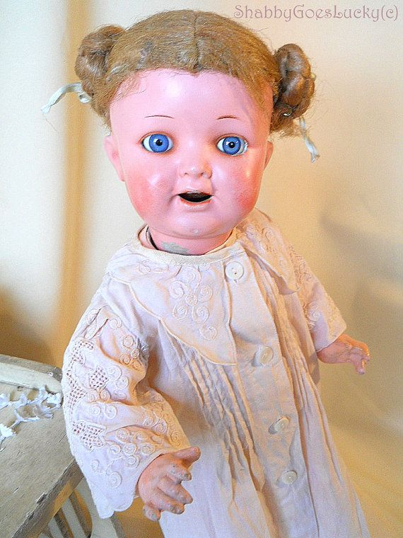 Antique German composition doll 1920s, marked Heubach Koppelsdorf 342 2 Germany, blue paperweight glass eyes, large shabby vintage old doll