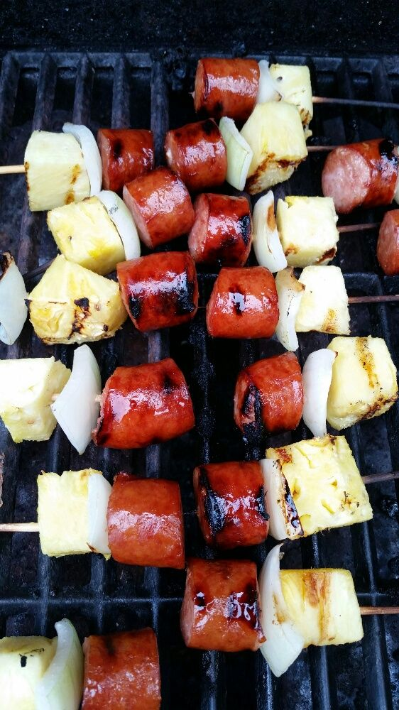 Grilled Sweet and Spicy Kielbasa Skewers http://www.thelakekitchen.com ...