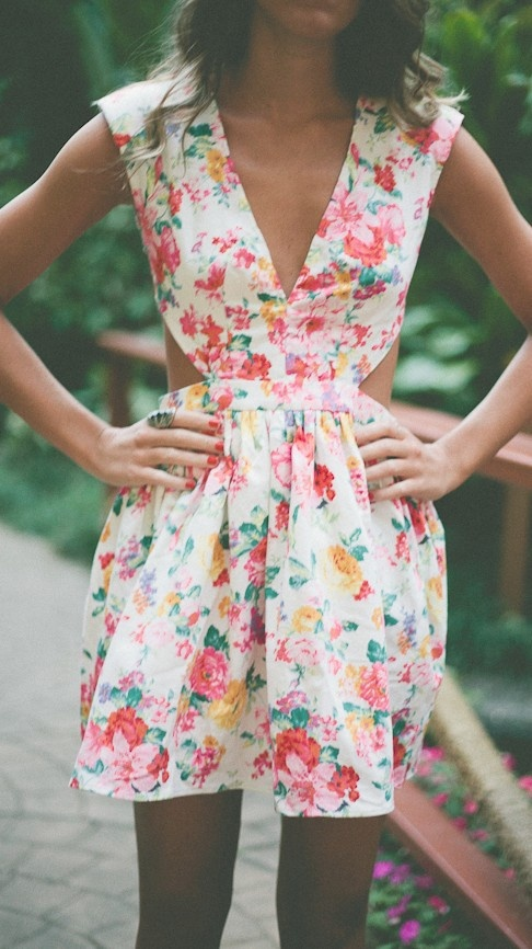 Floral dress. Have a coral skirt. Could make a top to attach & create a dress