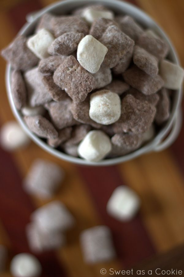 Hot Chocolate Puppy Chow | One of the best flavors of Puppy Chow I have ever tried by sweetasacookie.com