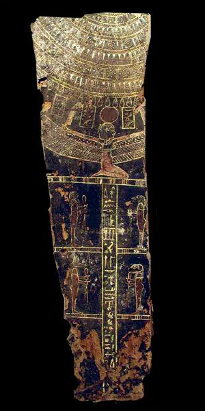 Painted wooden panel from a sarcophagus. 525-332 B.C. | The Barakat Gallery