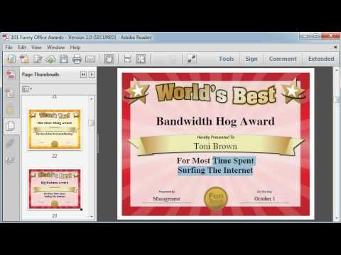 Funny office awards, ideas and printable certificates for