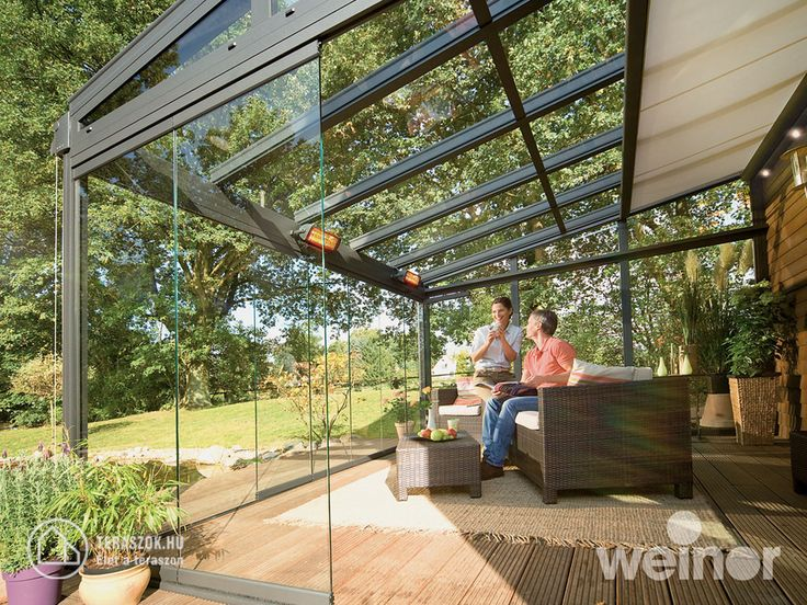 Weinor üvegtető, üveg oldalfalakkal