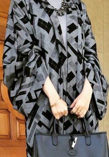 Black & Grey Geometry abaya