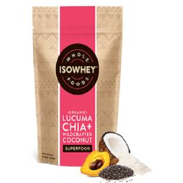 Isowhey Wholefoods Lucuma Chia + Wildcrafted Coconut Powder is organic and high in vitamin B.  Isowhey Wholefoods Lucuma Chia + Wildcrafted Coconut is a delicious and nutritious superfood powder.
