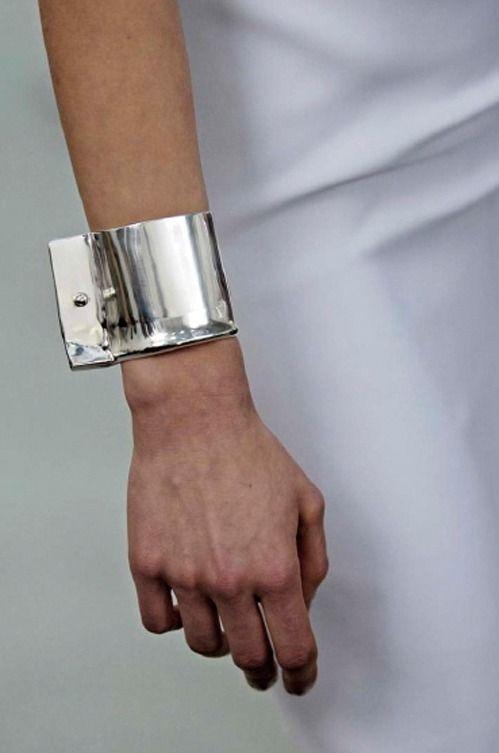 Silver Chrome Cuff - industrial jewellery; bold statement bangle // Balenciaga