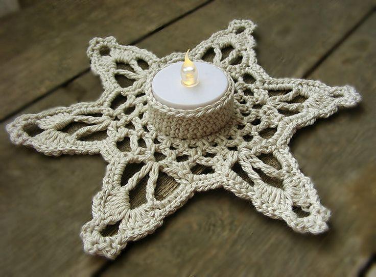 Crochet snowflake candle coaster, tealight holder PDF pattern by ZiccaHandmadeCrochet on Etsy