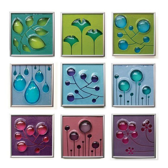 Simple shapes, simple colours, stunning effect. Beautiful fused glass art tiles by Michelle Prosek.