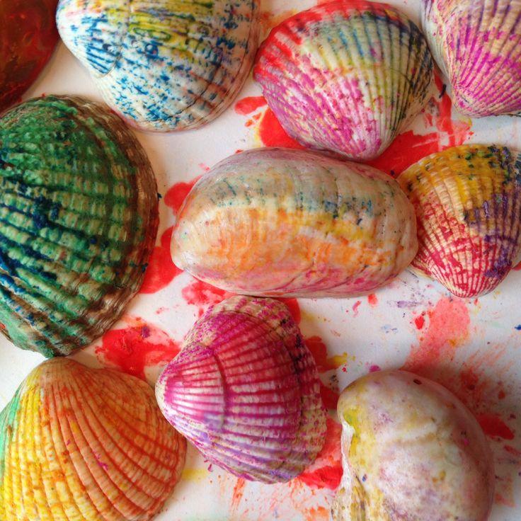 Rainbow Seashells www.thewobblyjelly.wordpress.com