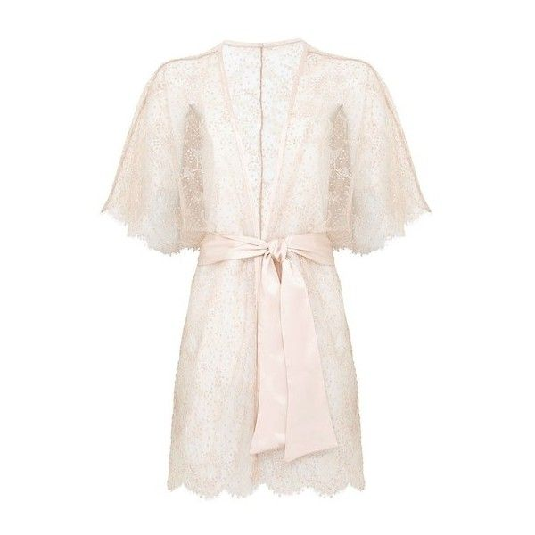 OuiHours Gilda  Pearl Monroe Embellished Lace Kimono (1.750 BRL) ❤ liked on Polyvore featuring intimates, robes, neutral, kimono bath robe, lace kimono robe, kimono dressing gown, embellished kimono and bath robes