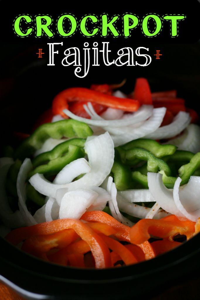 Crockpot Fajitas:1 ½ lbs flank steak 1 teaspoon chili powder 1 teaspoon cumin ½ teaspoon paprika ½ teaspoon salt ¼ teaspoon black pepper 2 tablespoons soy sauce, preferably the low-sodium variety 1 (7oz) can of green chilies 4 cloves garlic, minced 3 bell peppers, any color, cut into slices 1 large onion, cut into slices