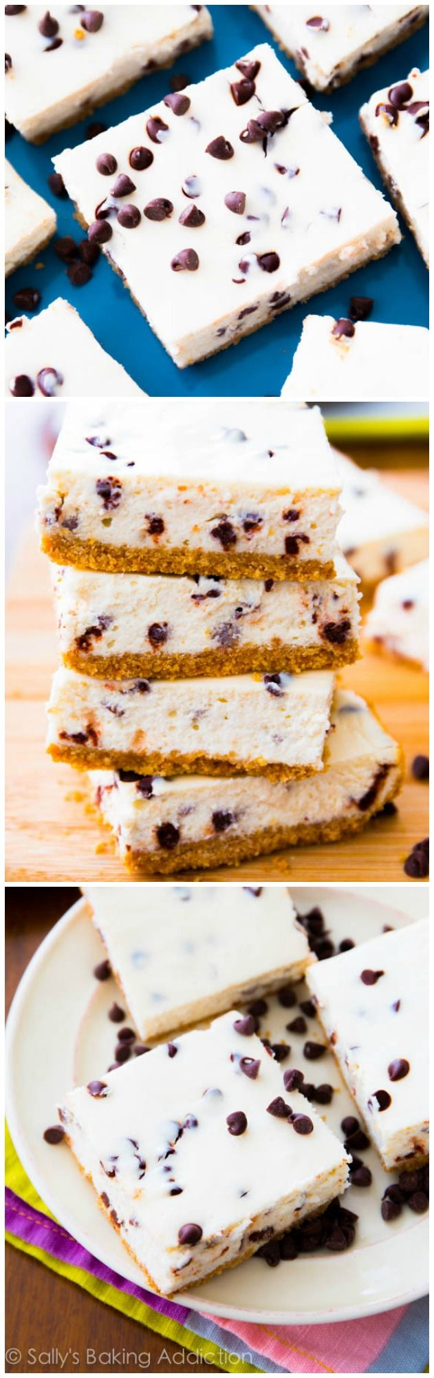 Skinny Chocolate Chip Cheesecake Bars - you won't even know they're light! Only 128 calories each!