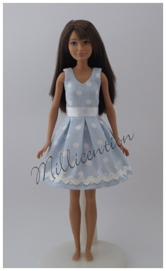 Pastel blue polka dot Skipper doll dress