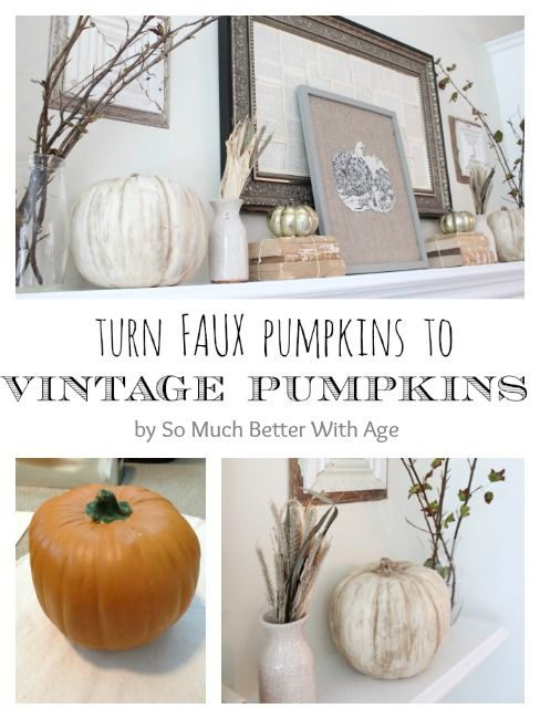 Such a great idea! Vintage pumpkins with chalk paint from somuchbetterwithage.com #chalkpaint #pumpkins #vintage
