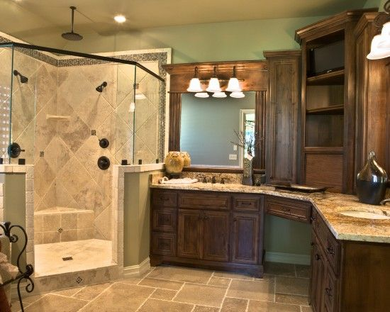 Closest representation of our bathroom layout... except a deeper shower. Old World Corner Double Shower Tile Design, Pictures, Remodel, Decor and Ideas
