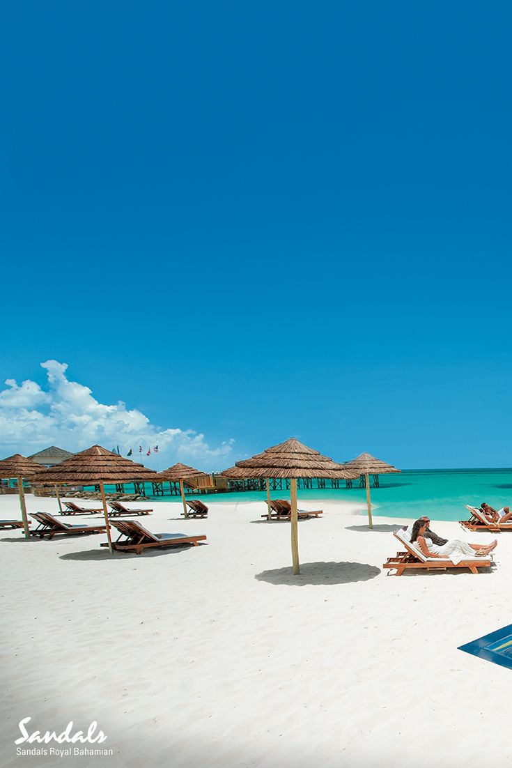 The beautiful white sands at Sandals Royal Bahamian beckon sun worshippers from around the world.