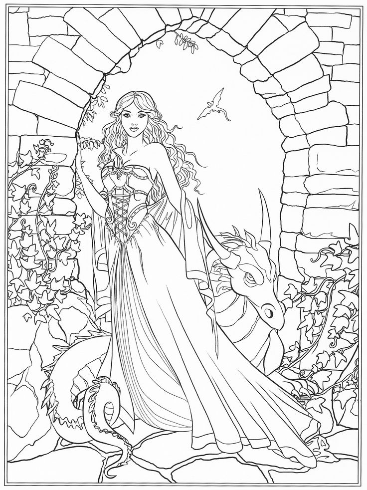 coloring page of a young woman and a small dragon in front of a castle window - Fantasy Coloring Pages Adults