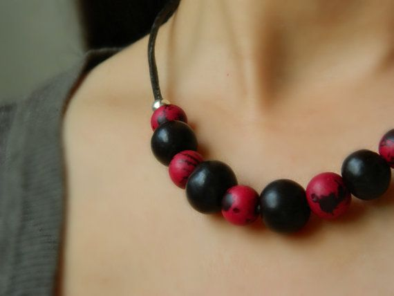 Eco Amazon Necklace - Acai and Bombona Seeds / Sterling Silver & Leather