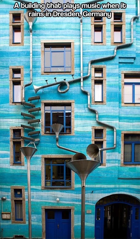 This singing wall has tourists braving stormy weather to listen to its music, composed only when skies are grey. An intricate system of drains and funnels is attached on the outside of a colourful house in Germany and when it rains the entire building becomes an instrument. The house is located in Neustadt Kunsthofpassage, an area of Dresden part of an arts project called the Courtyard of Elements.