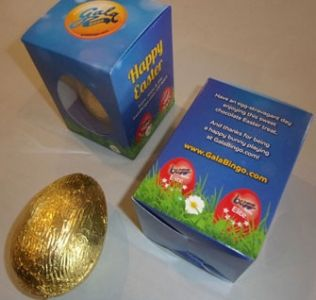 Promotional foil wrapped chocolate Easter egg presented in a printed  Easter Box.10g, 30g or 100g