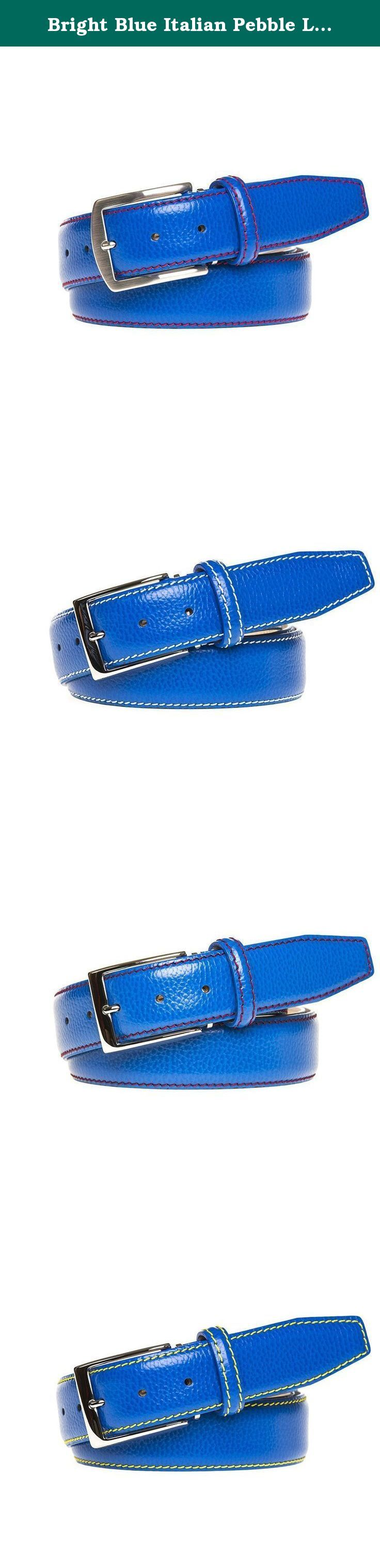 Bright Blue Italian Pebble Leather Belt. Made from 100% Italian Calf Leather and handmade to order. All of our leather products are made in the USA. Each belt is designed with a Nubuck lining and solid brass palladium buckle to ensure extra durability. In addition, each belt comes with a signature travel bag to store your belt in.