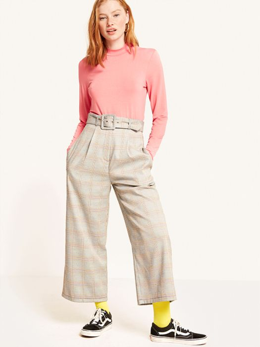 52bb4a7ead Mustard Gordon Check Self Belt Trouser in 2019 | The Bottom Line ...