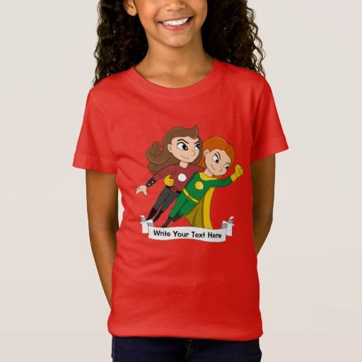 Custom flying superhero girls cartoon T-Shirt