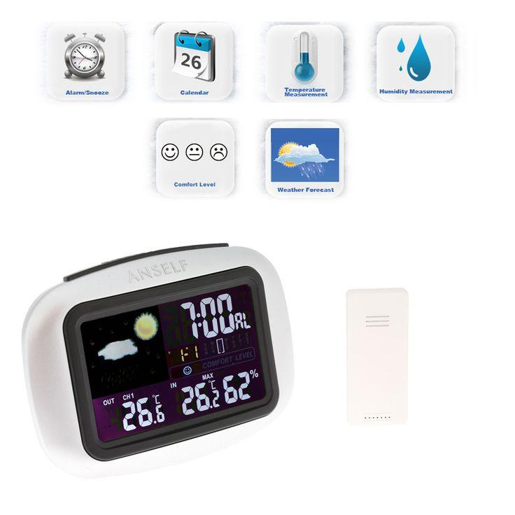 Ao ar livre Indoor Digital Termômetro Higrômetro Relógio Da Estação Meteorológica Sem Fio Temperatura Umidade Alerta Display LCD Termostato em Termômetros de Melhoramento Da casa no AliExpress.com | Alibaba Group
