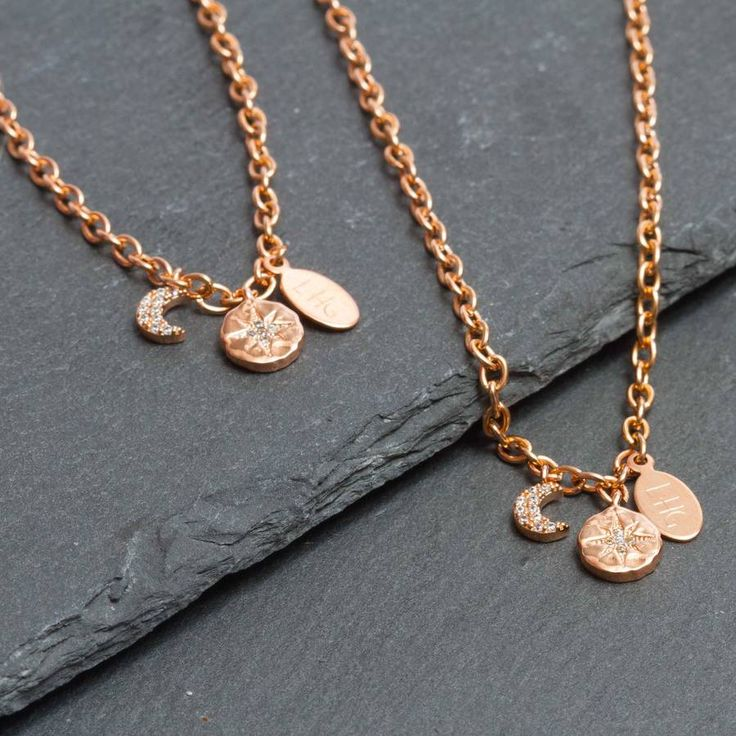 Rose Gold Plated Moon Star Pave Charm Bracelet gift for her