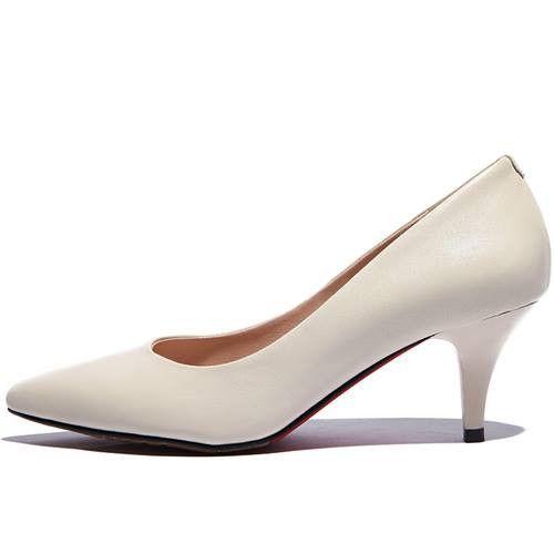 Популярные большой размер 34-40 острым носом высокое качество натуральной кожи женщины насосы золотника тонкие каблуки краткий стиль офиса карьера обувь