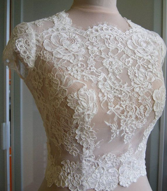 Wedding bolero-top-jacket with lace sleeve short front by TIFFARY