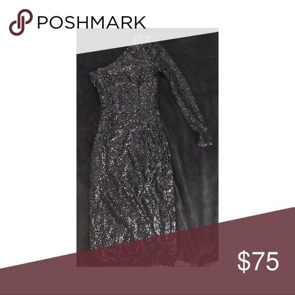 MISSGUIDED Black Sequins off the Shoulder dress Dazzling Black sequins midi off the shoulder dress.