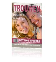 mooie trouwkaart enkele-kaart tijdschrift met ruimte voor een foto. copright bij Cartita Design