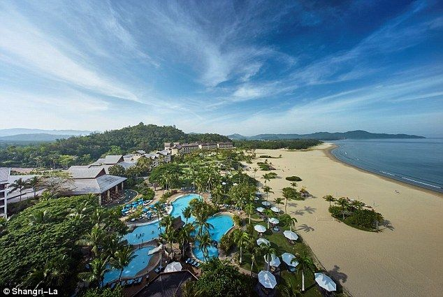 Monty and his wife kicked off their honeymoon at Shangri-La's Rasa Ria Resort and Spa, pictured, set in 400 acres of rainforest and hugging the shoreline
