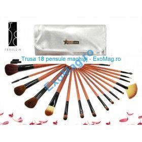 Trusa 18 pensule makeup - http://exomag.ro/pensule-machiaj-profesionale-makeup/trusa-18-pensule-machiaj-profesionale-fraulein38-silver-lining.html