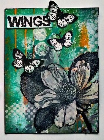 Rubber Dance, ATC, Antique Botanicals, Butterfly Girl #1, Flying Ink Bottle