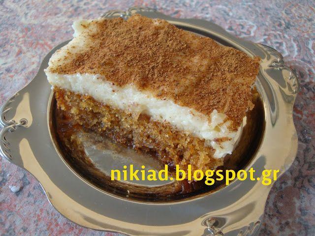 σιμιγδαλένιος χαλβάς φούρνου με κρέμα μιλφέιγ