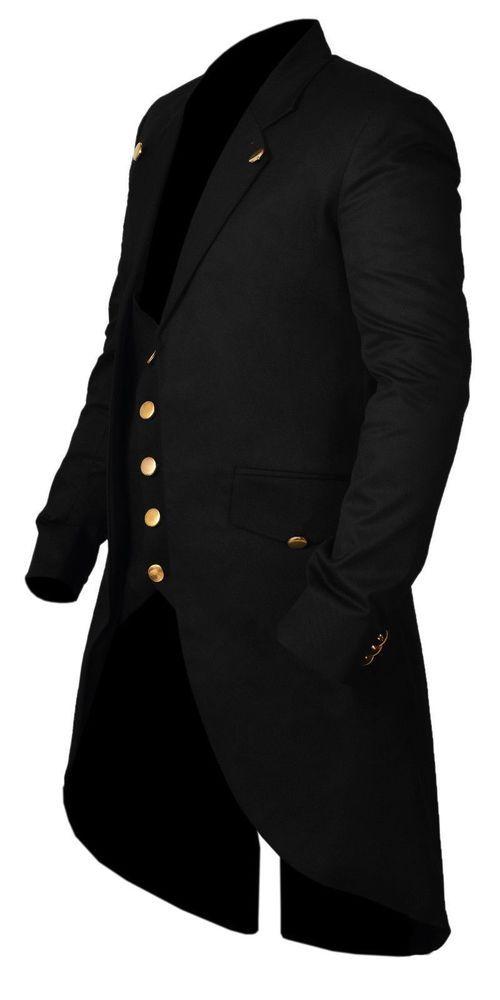 Stylish New Men's Tail Jacket Black Gothic Victorian Coat Handmade #Handmade #Military