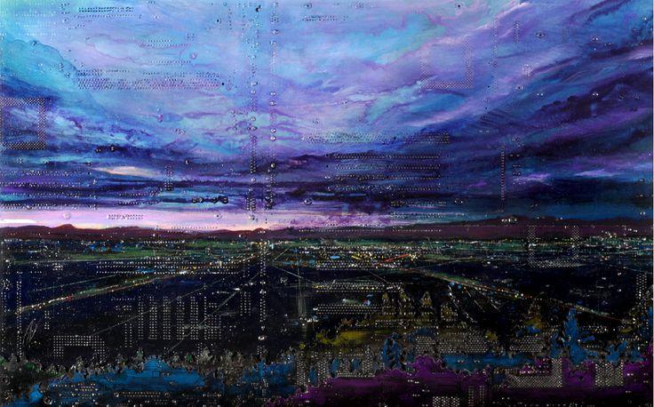 Circuit board paintings by Peter McFarlane