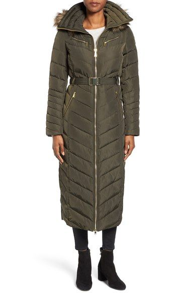 MICHAEL Michael Kors Belted Down & Feather Fill Long Coat with Faux Fur Trim Hood available at #Nordstrom