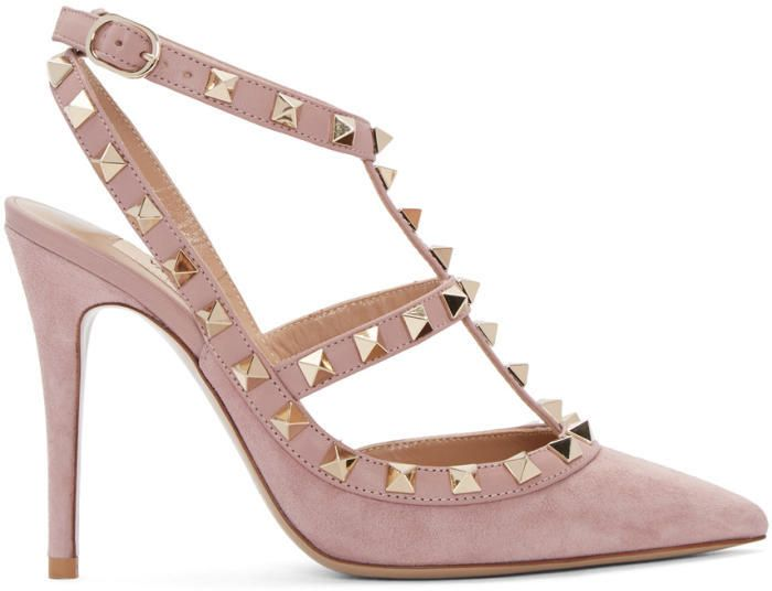 Valentino Pink Garavani Suede Rockstud Cage Heels