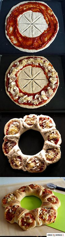 интересный полуоткрытый пирог-пицца