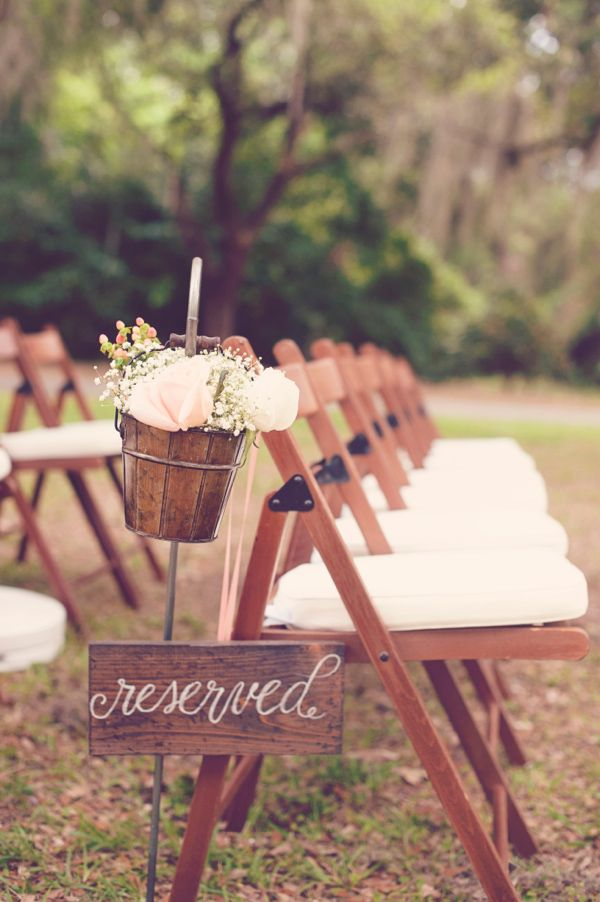 rustic pink wedding ceremony decor http://www.weddingchicks.com/2013/09/27/pink-and-cream-wedding/ Pink Weddings, Woodland Chic, Rustic Wedding,