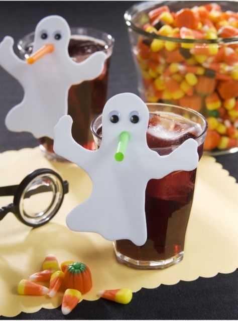 Ghost on bendy straw. Cut a ghost shape out of thin foam craft board or white poster board, use a hole punch for the mouth and glue on googly eyes. Could take this idea and transfer it to all holidays!
