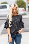 Lydia Stripe Tie Front Top in Charcoal