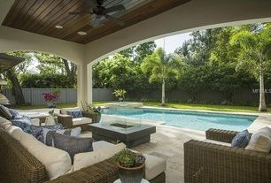 "Contemporary Patio with 60"" Majorca Classic Sofa, Pool with hot tub, exterior stone floors, Majorca Classic Lounge Chair"